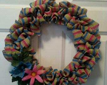 Burlap striped wreath