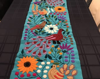 Multicolored Mexican Table runner from Chiap