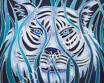 Tiger Silk Painting Print - White Tiger in Blue Grasses - Wildlife Decor - Dramatic Wild Cat Art - Teal Living Room Decor - Tiger Lover Gift