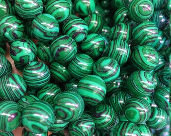 1Full Strand Malachite Round Beads , 8mm 10mm Wholesale Malachite Gemstone For Jewelry Making