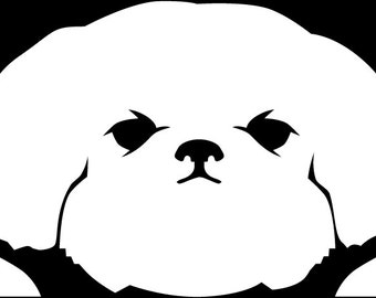 Peeking Shih Tzu vinyl decal window sticker