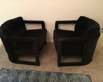 Pair Milo Baughman for Drexel mid-century modern lounge chairs barrel back upholstered cut out chairs Hollywood regency