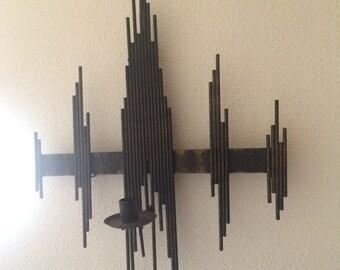 Mid-century Modern Brutalist Wall Candleholder black metal Wrought Iron Swedish