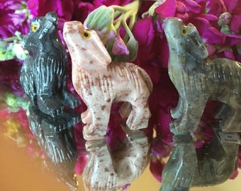 Carved Wolf Totems