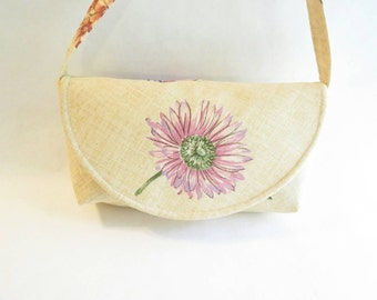 Purple flower purse - purple handbag - shoulder bag purse - Small purse - gift ideas for women - floral fabric - flower shoulder bag - purse