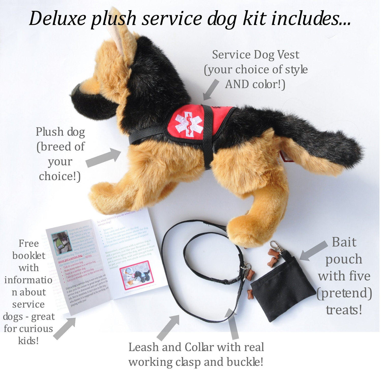 deluxe plush service dog set stuffed service animal in your