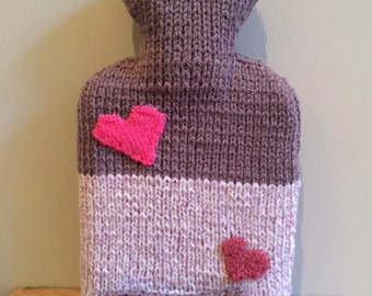 Purple with Pink Hearts Hot Water Bottle - Handmade Knitted Cover plus 1 Litre Bottle