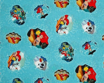 Disney Fabric - Little Mermaid Fabric - Disney Ariel Movie Posters Little Mermaid 63755 100% Cotton fabric by the yard, SC99