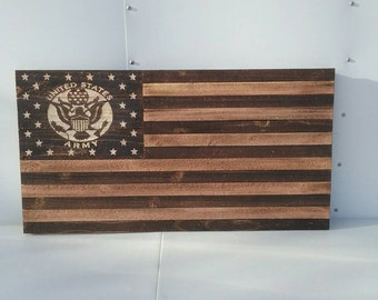 Distressed wooden flag, army edition, 19x35 inches, hand etched!