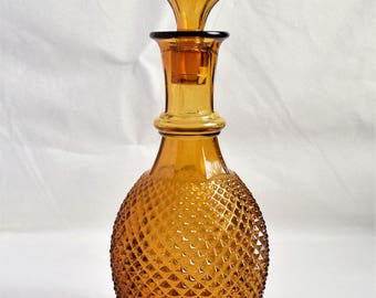 Vintage Amber Liquor Decanter/  Liquor Glass Decanter/ Barware