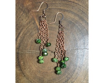 Faceted Chrome Diopside Dangle Earrings
