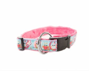 Extra Soft Handmade Dog Collar Owl Pink
