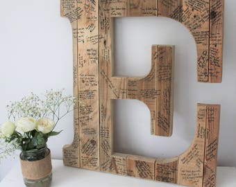 Wedding Guest Book Initial Letter - Wedding Guest Book Alternative - Wedding Guest Book Ideas - Wooden Wedding Guest Book Sign - Rustic Book