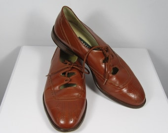 Vintage BALLY Brogue Style Tan Leather Shoes, Size 4.5, FW01