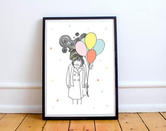 Little girl with balloons-artwork original, illustrations children, pictures children, decoration child, posters for children