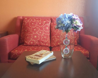 Handmade Home Decor Purple & Blue Hydrangeas Floral Arrangement Centerpiece