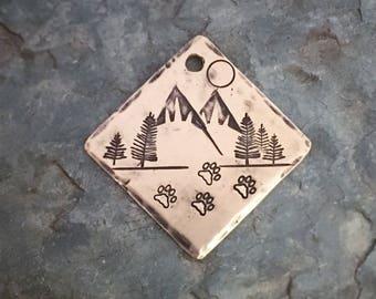 Dog Tags, Moonlit Mountain Hike Tag, Personalized Dog Tag, Pet Id Tag, Custom Dog Tag, Pet Supplies, Designer Dog Tag, Metal Hounds Dog T