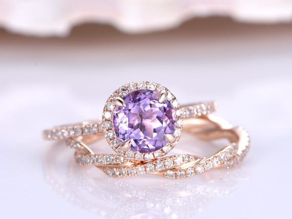Amethyst Ring Set,Natural Amethyst Engagement Ring,6.5m Round Cut Amethyst Ring,Twisted Diamond Wedding Ring,14K Rose Gold,Promise Ring