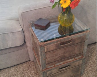 Antique Milk Crate End Table