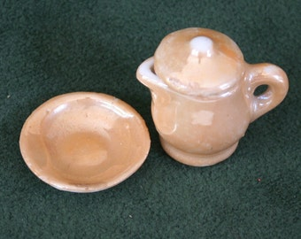Miniature Luster Ware Lidded Pitcher and Dish