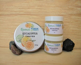 Eucalyptus Chest Rub: Natural decongestant, Herbal vapour rub, organic salve, chest cold, natural colds & flu care, cough and colds