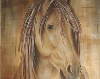"Horse head Acrylic Painting Original artwork Appalaches by Caroline Fellis 12x14"" Equestrian Art Red Dun Animal painting on Small canvas"