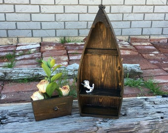 Wood Boat Shelf / Accent Shelf / Nautical Storage / Home Decor / Nursery Decor / Wedding Decor / Nautical Boat Decor