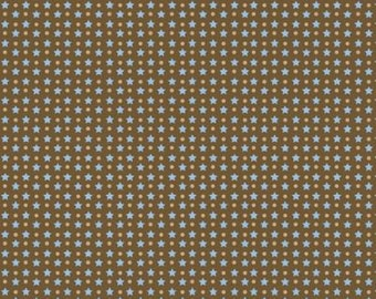 """BTHY - Giddy Up by Janet Selck for Northcott, Patt. #3529-36, 1/8"""" Blue Stars and 1/16"""" Tan Dots on a Chocolate Brown Background, HALF YARD"""