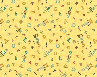 By The HALF YARD - Sunshine Zoo by Jo Moulton for Wilmington Prints, ABC's on Yellow, Math Problems and Alphabet Letters