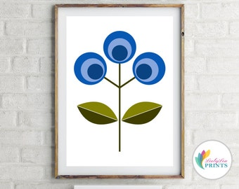 Blue Flower Print - Scandinavian Design Flower Print  (blue) -  Mid-Century Kitchen Print, Retro Lounge Print, Retro Hallway Print