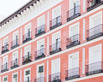 Madrid, Spain, Architecture, Pink, Balconies, Windows, Pattern, Pink Hombre, Spanish, Travel, Print, Photograph, Fine Art, Wall Art