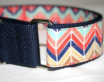 Martingale collar  1.5 inch wide  Orange and Navy Cheveron  XL