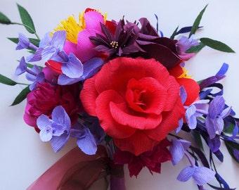 Paper flower bouquet, wedding bouquet, wedding, arrangement, bridal bouquet, crepe paper, flowers, paper flowers, dahlia, Peony, rose, eucalyptus