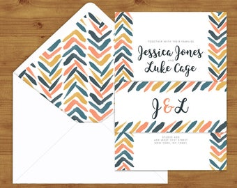 Retro Chic Belly Bands and Envelope Liners - Blush - Peach - Yellow - Blue - Chevron - Wedding Invitation Extras - Wedding Stationery