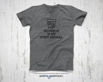 Bourbon is my Spirit Animal T-Shirt, Kentucky, Bluegrass State, Whiskey, Ky Bourbon, Drink, Alcohol, Christmas Gift