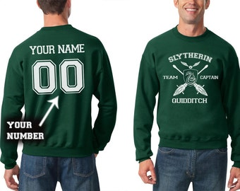 Slytherin sweatshirt Team Captain Quidditch sweatshirt Customize name and number Unisex S - XXL
