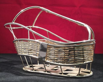 Vintage Wine Basket (Unmarked White Metal) - 1960's