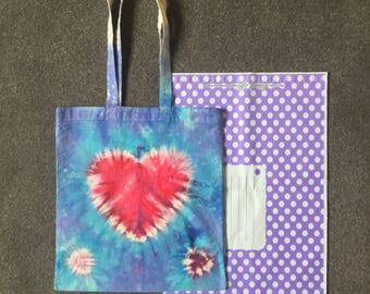Love heart tie dye tote bag