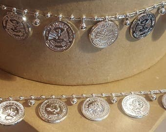 Silver 2cm Coin Drop Trim - Costume - Belly Dancing - Crafts 10m Reel