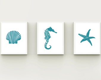 Coastal wall art, beach bathroom set 3, printable Beach decor, bathroom decor, beach wall art, Seashell Starfish Seahorse, blue modern Beach
