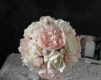 pink &ivory peony wedding bouquet soft touch peonies wedding bouquet peony bouquet brides bouquet  flower bouquet soft touch bouquet