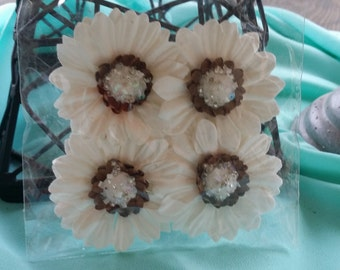 4 piece Michaels white paper flowers