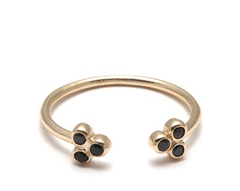 Ring DYNASTY Silver 925 - open ring, black stones, black stone