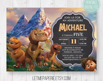 The Good Dinosaur invitation, The Good Dinosaur Birthday, The Good Dinosaur invite, Good Dinosaur Party, Boy birthday, Printable invitation