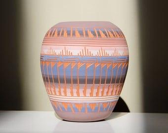 Laura Bahe for Mesa Verde: Etched Native American Navajo Vase or Pot