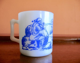 Milk Glass Davy Crockett Blue Print Childs Mug, Hazel Atlas White Milk Glass Kids Cup, Famous Frontiersman, Mid Century TV Cowboy