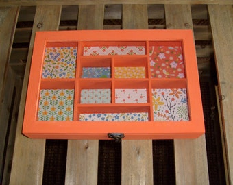 Shabby Chic Wood Storage Box with 10 Compartments, Organizer, Wood Organizer, Desk Organizer, Shabby Chic Desk Organizer, Orange  Organizer