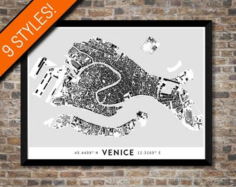 Buildings of Venice map art | High-res digital Italy map print, Venice print map, Venice poster, Venice art, Wall art, Printable Venice gift