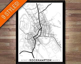 Every Road in Rockhampton map art   High-res digital Queensland map print, Rockhampton print, Rockhampton poster, Rockhampton art, Wall art