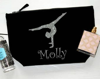 Personalised Cosmetic Bag,Make up bag, Pouch,Storage Bag,Gymnast Gift, Gift For Gymnast,Gift for Her,Glitter Image, Gymnastics